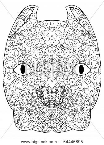 good American Pit Bull Terrier head coloring book for adults vector illustration. Anti-stress coloring for adult. Zentangle style. Black and white lines. Lace pattern Dog breed
