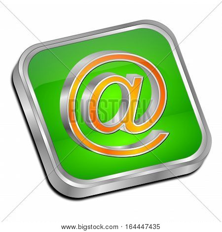 green orange E-Mail Button - 3D illustration