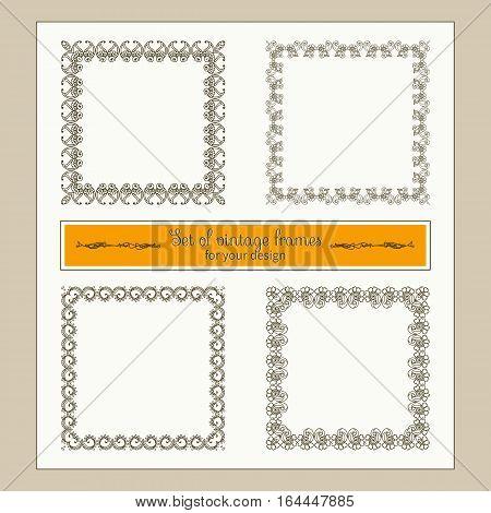 Vector vintage collection: Set of decorative Baroque and antique frames, labels, emblems and ornamental design elements.
