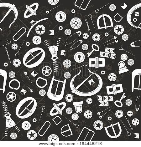 Seamless vector pattern for haberdashery. Many fancy metal accessories for clothing and bags. Buttons buckles metal pins on black background. Graphic vintage style.