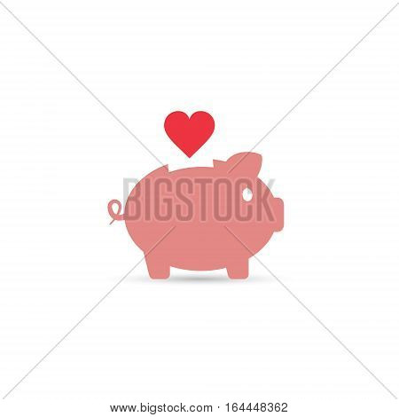 Piggy bank with heart vector isolated illustration. Save love concept.