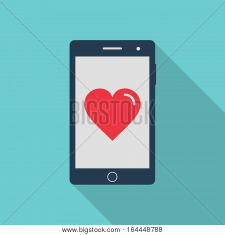 Smartphone with heart icon flat style with long shadow vector.