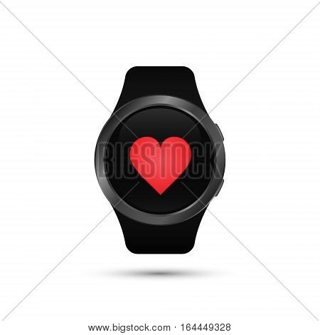 Smart watch icon with heart symbol. Vector isolated simple illustration.