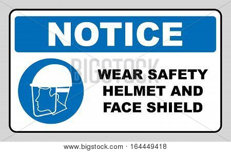 Wear safety helmet and face shield sign. Information mandatory symbol in blue circle isolated on white. Vector illustration. Notice