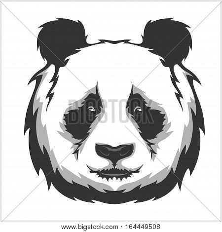 Portrait of Panda. Cute attractive face bears. Vector Illustration.