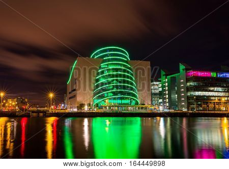 Dublin, Ireland - 8 Jan 2017: Dublin Convention Center (The CCD) at nighttime, Dublin, Ireland