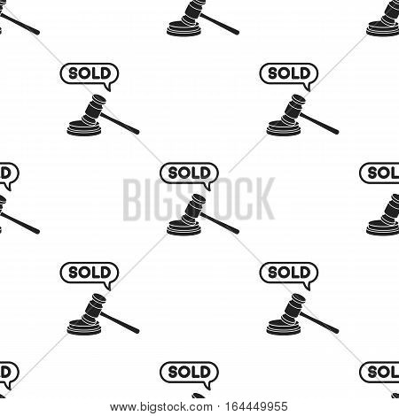 Auction hammer icon in black style isolated on white background. E-commerce pattern vector illustration.