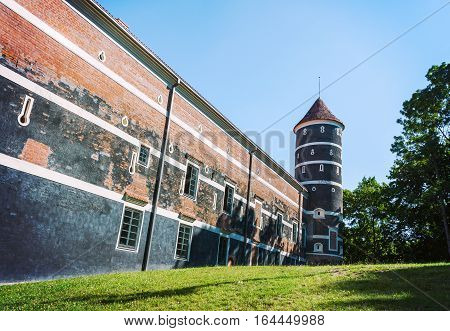 Medieval brick castle and tower in Panemune Lithuania