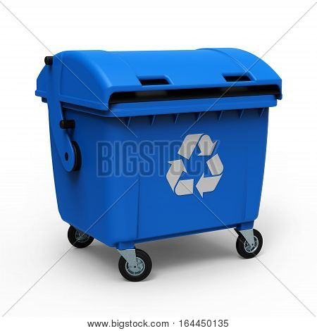 Blue garbage container isolated on white background 3D rendering