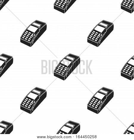 POS terminal icon in black style isolated on white background. E-commerce pattern vector illustration.