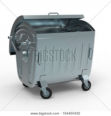 Metal garbage container open isolated on white background 3D rendering