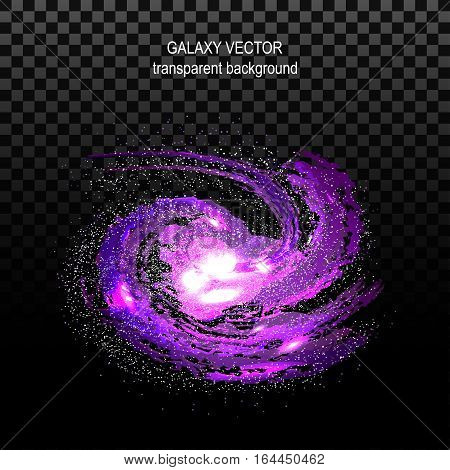 Image of galaxies nebulae cosmos and effect tunnel spiral galaxy on transparent black background vector illustration