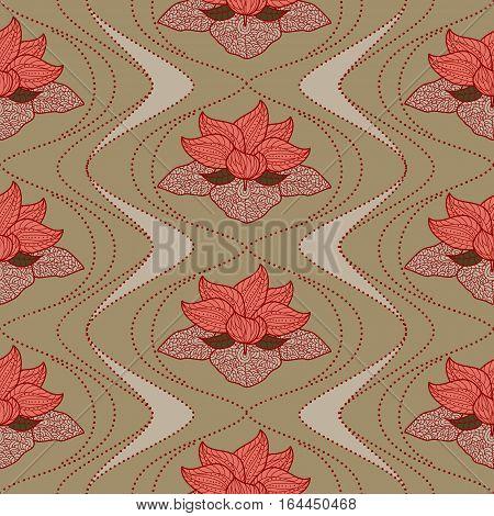 Hand drawn seamless pattern of henna flower lotus elements, yoga design.Mehendi Tattoo Doodles collection, meditation aura.Vector illustration.