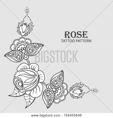 Hand drawn rose ornament of floral elements for henna tattoo, stickers, mehndi flash temporary tattoo.Traditional indian style, doodles collection, monochrome.Vector illustration.
