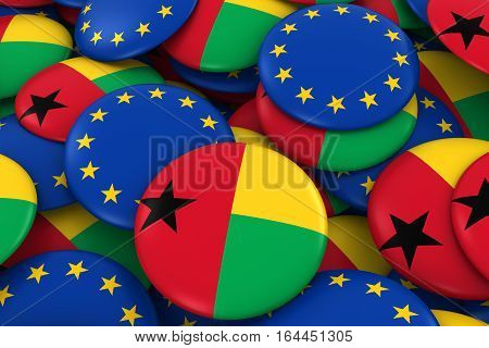 Guinea-bissau And Europe Badges Background - Pile Of Bissau-guinean And European Flag Buttons 3D Ill