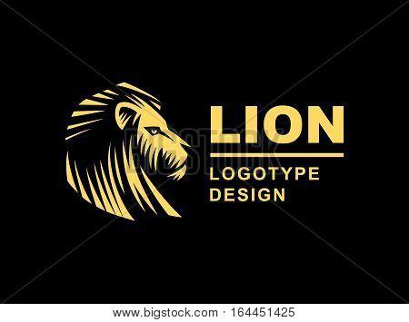 Gold lion head logo - vector illustration, emblem design on black background
