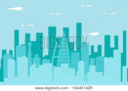 Seamless Silhouette Urban Landscape City Real Estate Summer Day Background Design Concept Icon Template Vector Illustration