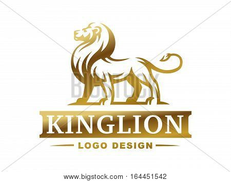 Lion logo - vector illustration, emblem design on white background