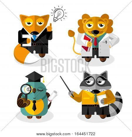Animals professions cartoon characters set isolated on white background vector. Fox, lion, raccoon, owl clothing and standing in front. Animals businessman, scientist, teacher. Clever animals. Funny animals flat design. Cartoon animals icon set.