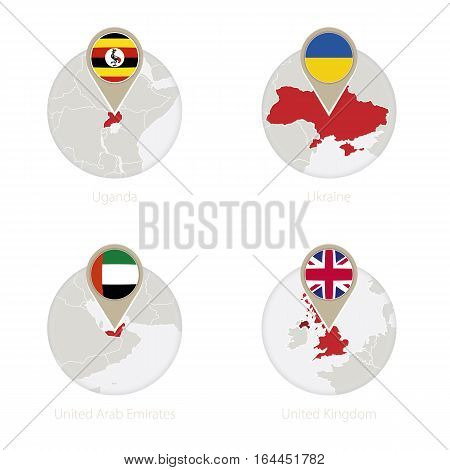 Uganda, Ukraine, United Arab Emirates, United Kingdom Map And Flag In Circle.