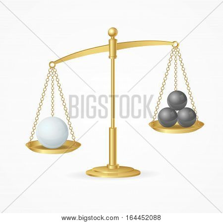 Balance Concept White True Win. Golden Libra or Scale Model Law, Choice. Vector illustration