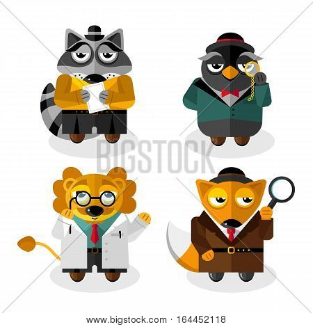 Animals professions cartoon characters set isolated on white background vector. Fox, lion, raccoon, owl clothing and standing  front. Animals scientist, gentleman, detective and manager. Clever animals. Funny animals flat design. Cartoon animals icon set