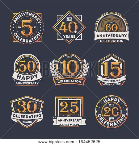 Anniversary celebration retro isolated label set vector illustration. Birthday party logo, holiday festive celebration emblem with number years jubilee. Anniversary logo. Happy anniversary celebration badge collection. 5, 10, 15, 25, 50, anniversary seal