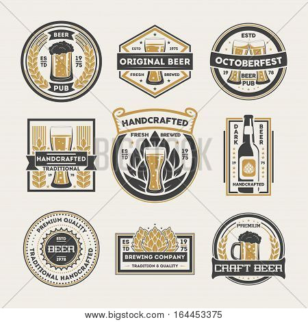 Craft beer logo isolated label set vector illustration. Traditional brewing company symbol, original handcrafted beer logo, octoberfest logo. Premium quality product sign, beer pub badge collection. Beer logo and beer icon set.