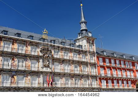 Madrid (Spain): facade of historic palace in Plaza Mayor the main square of the city known as Casa de la Panaderia