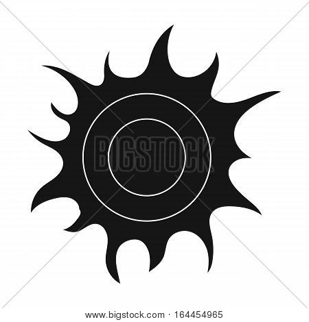 Sun icon in black design isolated on white background. Bio and ecology symbol stock vector illustration.