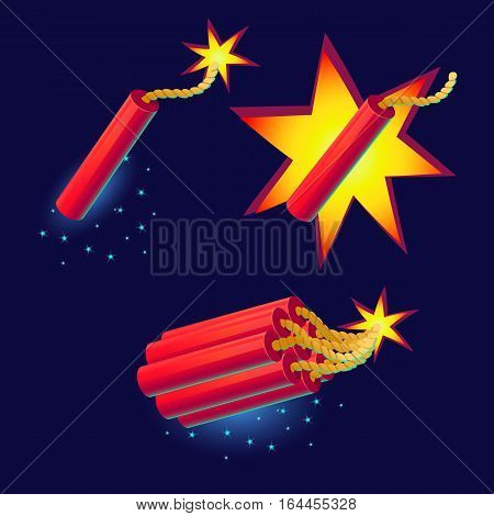 Bomb with sparkles icon. Vector gui assets collection for game design.Isolated elements.Gui element for assets, menu mobile games.Dynamite fire cartoon arms power aggression set.