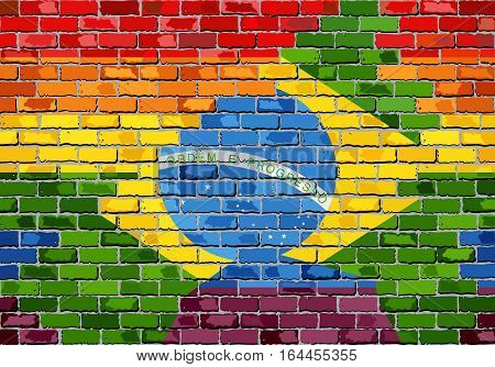 Brick Wall Brazil and Gay flags - Illustration, Rainbow flag on brick textured background,  Abstract grunge Brazilian Flag and LGBT flag