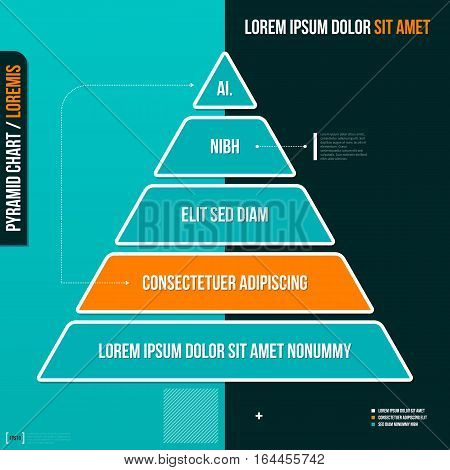 Pyramid Chart With Five Options. Useful For Presentations And Advertising.