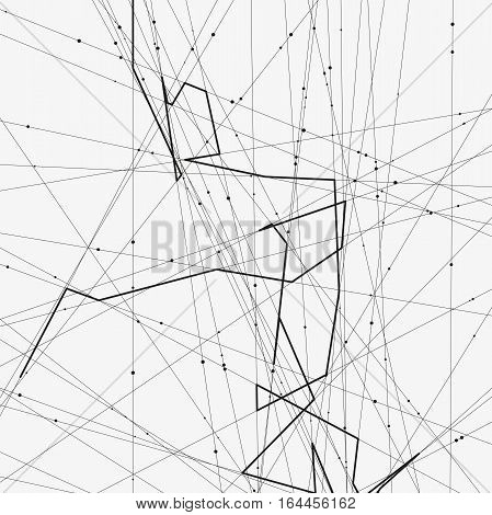 Monochrome minimalistic vector illustration. Modern schematic background with crossing lines and random dots. Element of design.