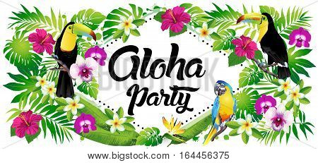Aloha party! Vector illustration of tropical birds, flowers, leaves.