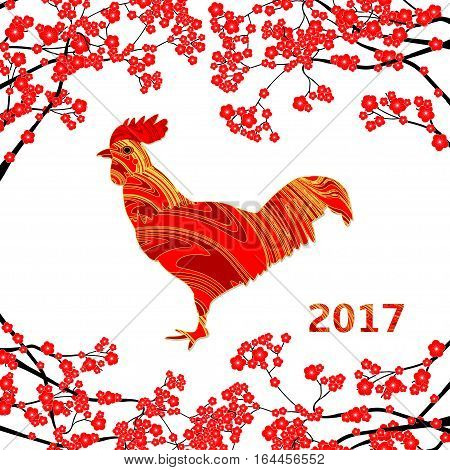 Chinese New Year vector card with creative red rooster and red plum blossom on the white background