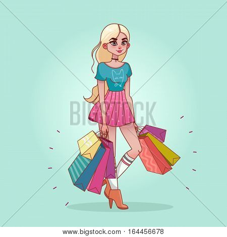 Buyer. Girl with shopping bags from the store. Sale. Vector illustration of a flat design.Shopper. Sales. Funny cartoon character. Isolated on background