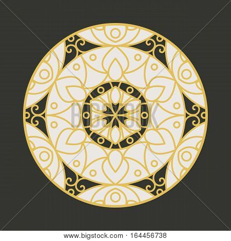 Traditional asian ornament. Vector circular arabic geometric symbol