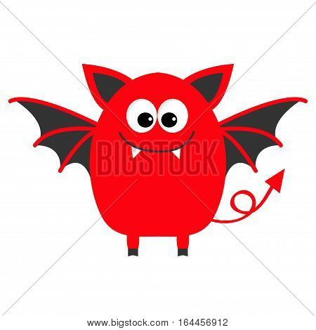 Funny monster with fang tooth and wings. Cute cartoon character. Red color. Baby collection. Isolated. Happy Halloween card. Flat design. Vector illustration