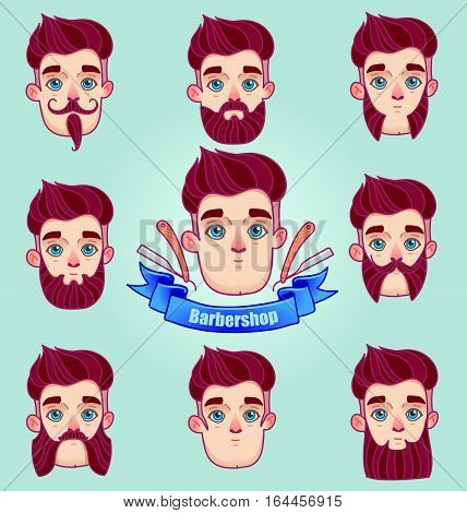 Set of different style mustaches and beards. Hipster style Moustache and Beard.Man faces avatar creator. Design flat avatars for social media or web site.barber shop logo graphics