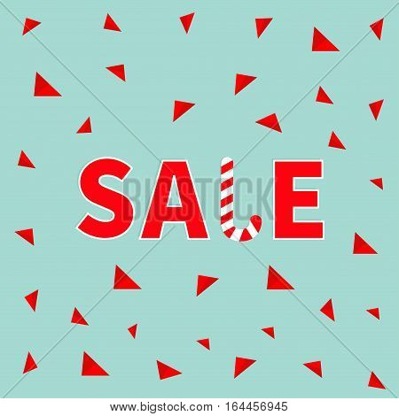 Sale red text Candy cane banner advertising poster. Winter Merry Christmas season offer. Flat design. Blue background with triangles. Isolated. Vector illustration