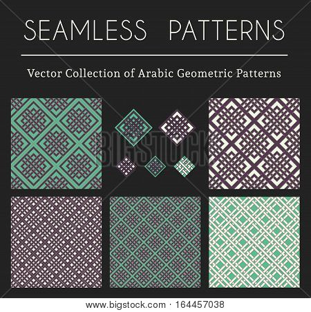 Seamless textures collection with geometric ornaments and symbols. Vector patterns set