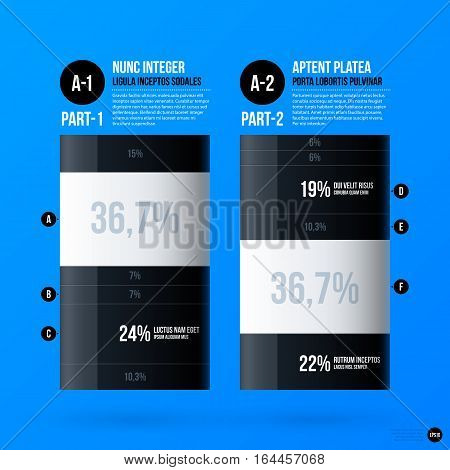 Corporate Business Infographics Template On Bright Blue Background. Useful For Presentations And Adv