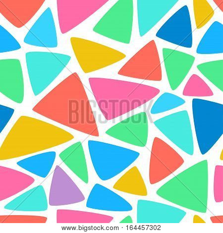 Vector abstract colorful mosaic seamless pattern. Background of geometric shapes.