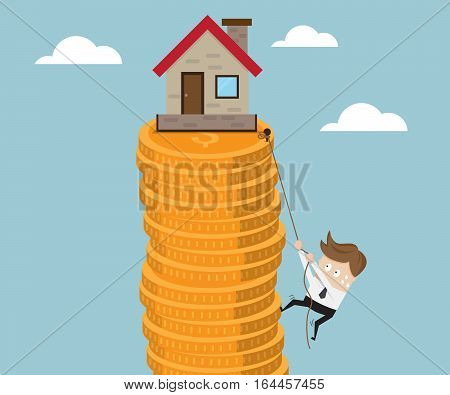 Business Climb Stack of Gold Coin with Robe to Target Home and Real Estate Business Concept Vector Illustration