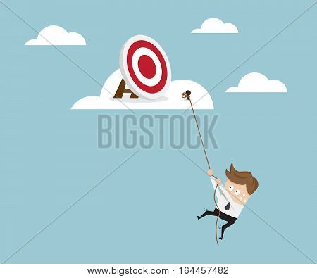 Businessman Climbing to Target on Cloud with Robe Business Concept Vector Illustration