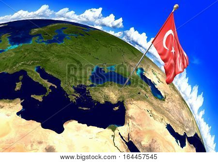 Turkey national flag marking the country location on world map. 3D rendering, parts of this image furnished by NASA