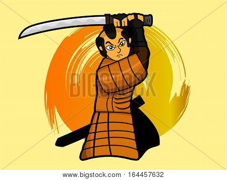Samurai warrior swinging sword or katana cartoon character. Vector illustration.