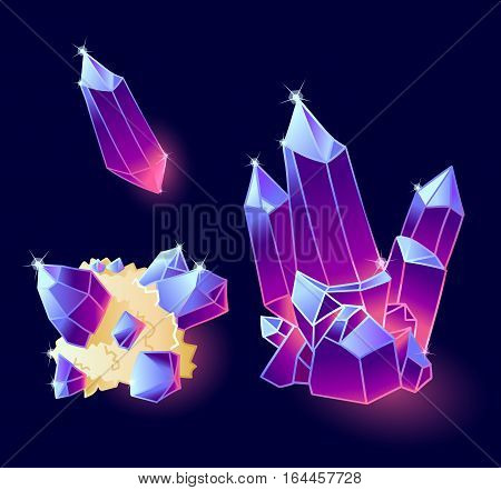 Magic crystals blue, purple colors.Magic Set isolated on a dark background.
