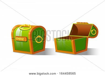 Green Chest set for game interface.Vector illustration. Treasure on white background closed, empty.